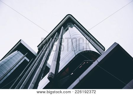 Madrid, Spain - May 1, 2017: Low Angle View Of Colon Towers In Madrid. It Is A Highrise Office Build