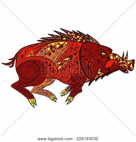Wild Boar Coloring Book. Forest Animal In Doodle Style. Anti-stress Coloring For Adult. Zentangle Pi