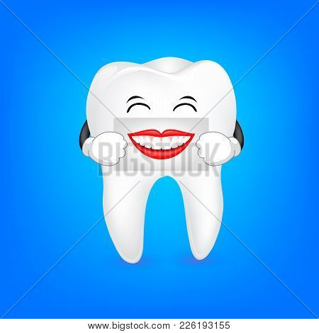 Cute Cartoon Tooth Character Holding The Human Mouth On The Sheet Of Paper Over The Mouth. Dental Ca