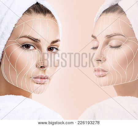 Face lift anti-aging lines on young female face. Graphic lines showing facial lifting effect on skin. poster