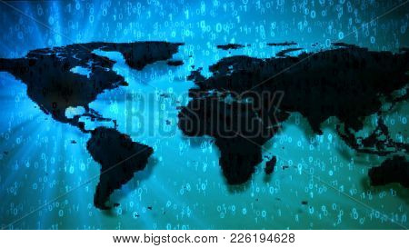 World Map On Blue Digits 0 And 1 Binary Code. Dark Continents With Shadows And Light Flare Right To