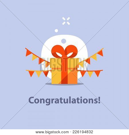 Surprising Gift, Yellow Box, Red Ribbon, Present Giveaway, Receiving Special Prize, Happy Birthday C