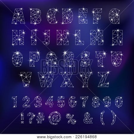 Alphabet Abc Vector Alphabetical Font Constellation With Letters From Stars Astromomy Alphabetic Typ