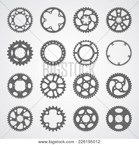 Gear Icon Set. 16 Vector Cog Wheel Silhouettes Isolated On White Background. Gears Collection For Lo