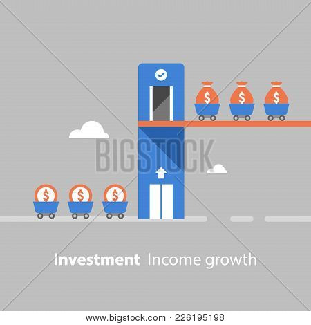 Return On Investment, Income Growth, Revenue Increase, Financial Productivity, Fund Raising Concept,