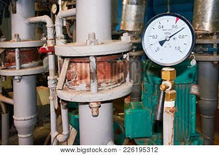 Pressure Gauge Mounted On The Water Supply Pipe.