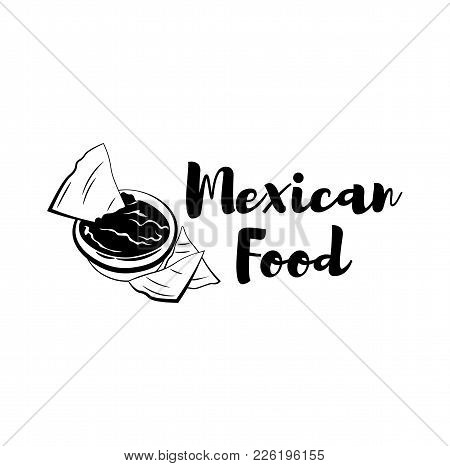 Nachos Drawing. Traditional Mexican Food Vector Illustration. Hand Drawn Fast Food Snack. Engraved S