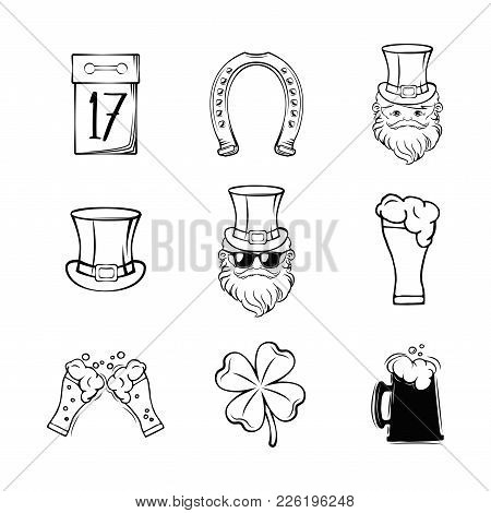 Set Of Happy St. Patrick S Day Typography Retro Style Emblems. Vector Illustration. Irish Party Typo