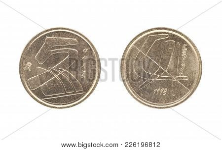Set Of Commemorative The Spain Coin, The Nominal Value Of 5 Peseta, From 1998. Isolate On White Back