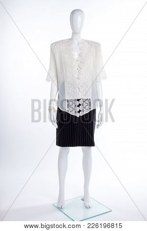 White Lace Blouse And Black Skirt. Full Length Female Mannequin Dressed In Elegant Silk Blouse And B
