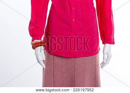 Close Up Blouse, Skirt And Bracelets. Female Red Lace Shirt And Bracelet. New Collection Of Female O