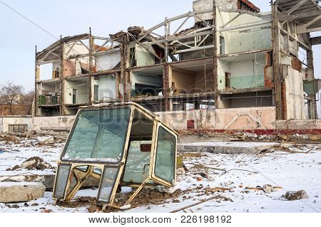 Tyumen, Russia - February 16, 2008: Demolition Of Machine-tool Factory. Shell Of Partially Demolishe