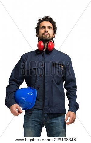 Handsome engineer isolated on white