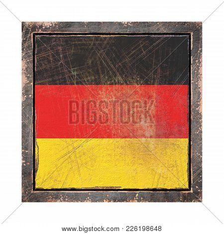 3d Rendering Of A Germany Flag Over A Rusty Metallic Plate Wit A Rusty Frame. Isolated On White Back