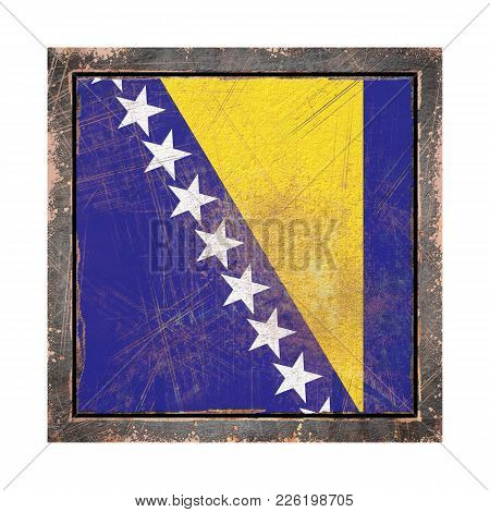 3d Rendering Of A Bosnia And Herzegovina Flag Over A Rusty Metallic Plate Wit A Rusty Frame. Isolate