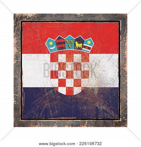 3d Rendering Of A Croatia Flag Over A Rusty Metallic Plate Wit A Rusty Frame. Isolated On White Back