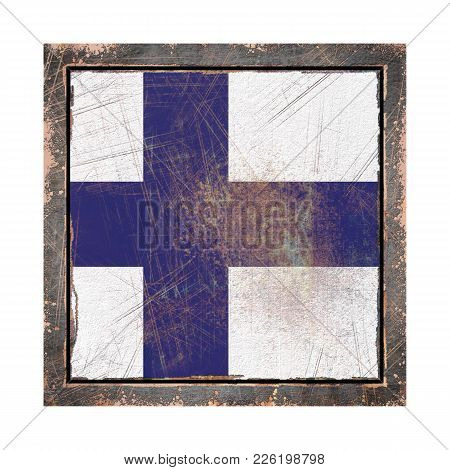 3d Rendering Of A Finland Flag Over A Rusty Metallic Plate Wit A Rusty Frame. Isolated On White Back