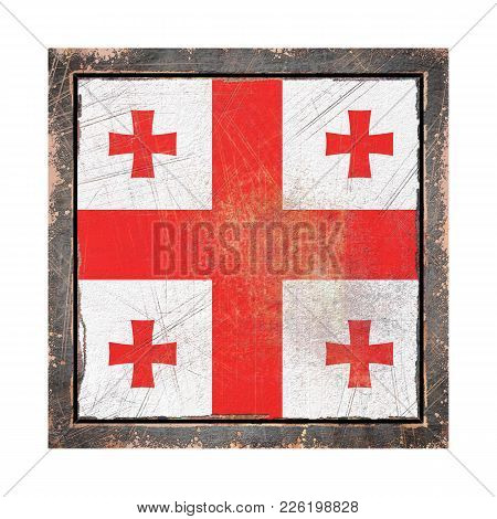 3d Rendering Of A Georgia Flag Over A Rusty Metallic Plate Wit A Rusty Frame. Isolated On White Back