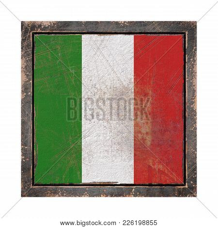3d Rendering Of An Italy Flag Over A Rusty Metallic Plate Wit A Rusty Frame. Isolated On White Backg