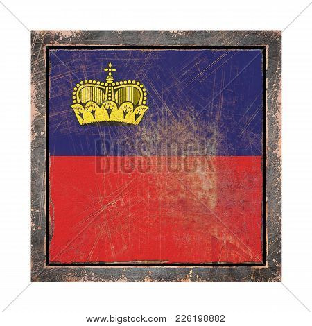 3d Rendering Of A Liechtenstein Flag Over A Rusty Metallic Plate Wit A Rusty Frame. Isolated On Whit