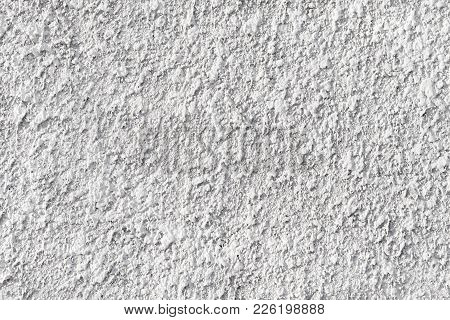 Wall With Rough Textured Plaster. White Background Image, Coarse, Grainy Texture