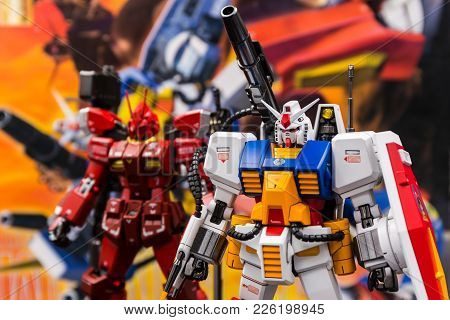 Bangkok, Thailand - February 9, 2017: Gundam Scale Plastic Models In The Shop At Thailand.