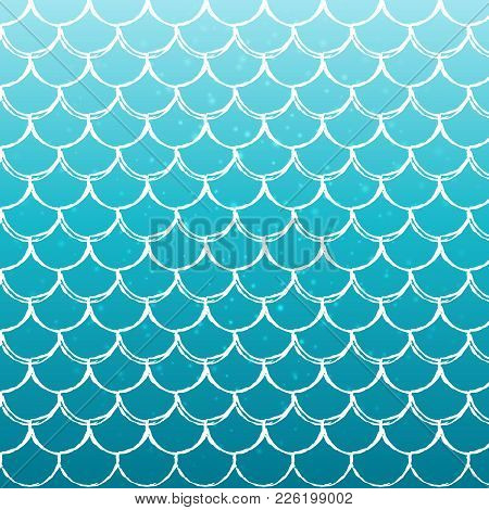 Mermaid Scale On Trendy Gradient Background. Square Backdrop With Mermaid Scale Ornament. Bright Col
