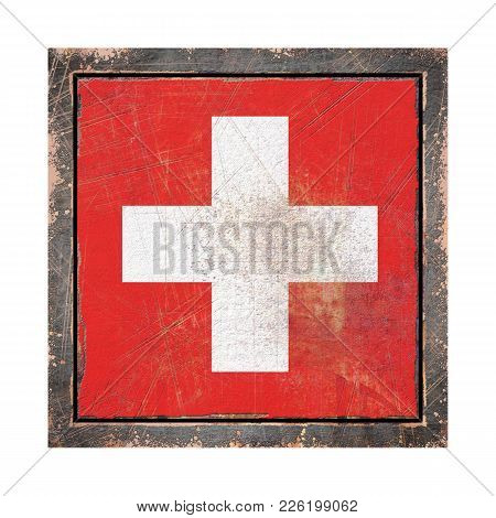 3d Rendering Of A Switzerland Flag Over A Rusty Metallic Plate Wit A Rusty Frame. Isolated On White
