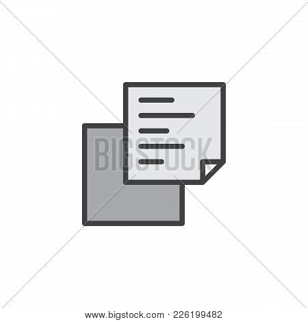 Document Copy Filled Outline Icon, Line Vector Sign, Linear Colorful Pictogram Isolated On White. St