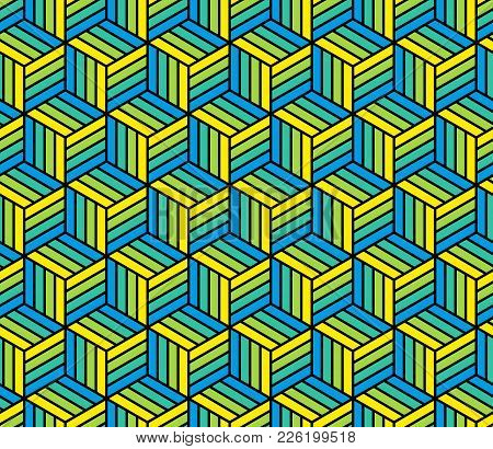 Abstract 3d Striped Cubes Geometric Seamless Pattern In Blue And Yellow, Vector Background