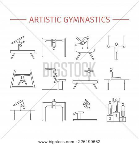Artistic Gymnastics Line Icon. Equipment. Vector Signs For Web Graphics
