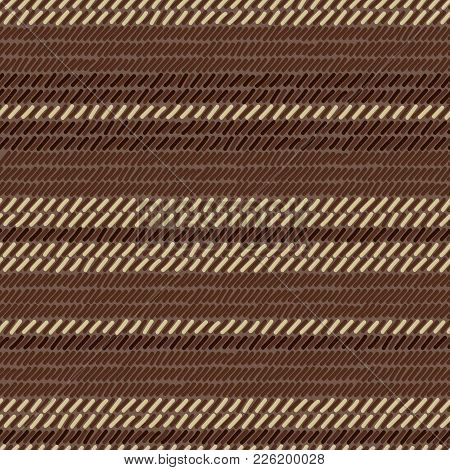 Brown And Beige Rug Woven Striped Fabric Seamless Pattern, Vector Background