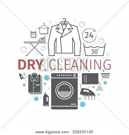 Dry Cleaning Services. Banner. Vector Signs For Web Graphics.