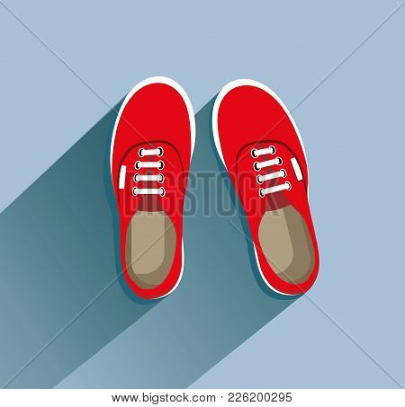 Sneakers. Sneakers In Flat Style. Sneakers Top View. Fashion Sneakers. Fashion Sneakers Red. Vector