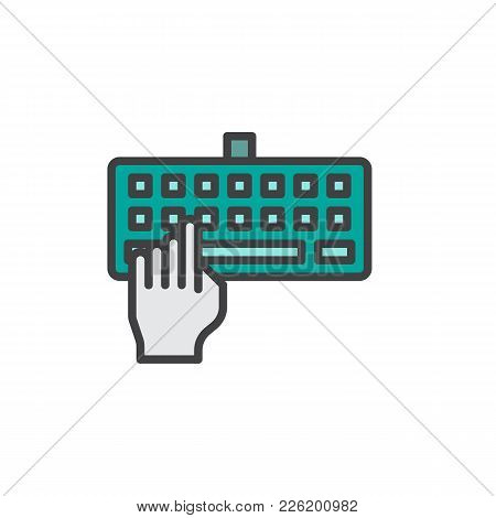 Hand Typing Keyboard Filled Outline Icon, Line Vector Sign, Linear Colorful Pictogram Isolated On Wh