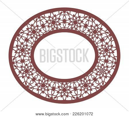 Vector Stencil Lacy Oval Frame With Carved Openwork Pattern. Template For Interior Design