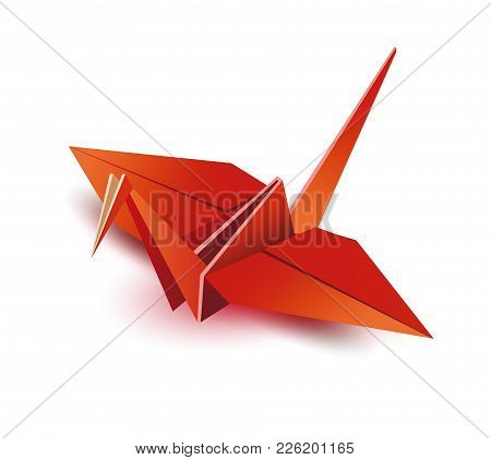 Origami. Origami Crane. Red Origami Crane. Red Paper Origami Crane. Paper Crane. Vector Illustration