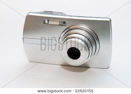 Silver Digital Camera On White Background