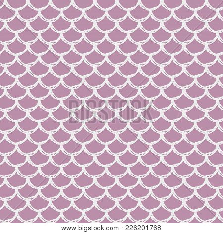 Mermaid Seamless Pattern. Fish Skin Texture. Tillable Background For Girl Fabric, Textile Design, Wr