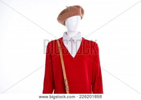 Red Formal Style Female Sweater. Red Pullover With Collar For Women. Feminine Casual Outfit.