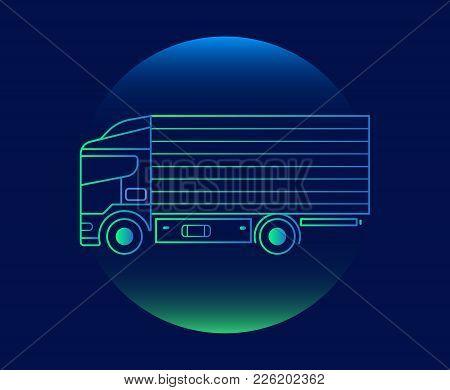 Modern Neon Thin Icon Of Lorry On Blue Background. Vector Isolated Illustration