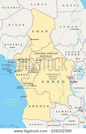 Central Africa Region, Political Map. Area With Capitals, Borders, Lakes And Important Rivers. Core