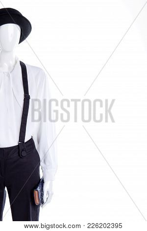 Hat, Blouse, Suspenders, Copy Space. Female Mannequin Dressed In Black Hat And White Blouse, Cropped