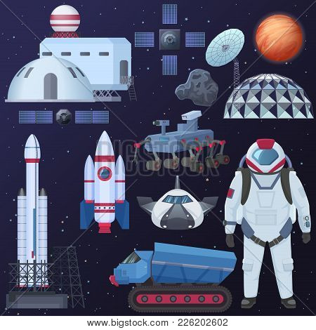 Vector Illustration Of Different Spacecraft Elements, Astronaut In Spacesuit, Colonization Buildings