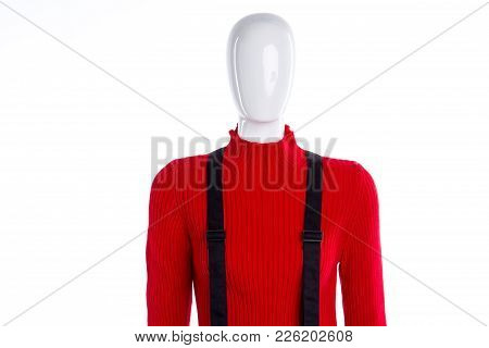Red Women Sweater And Black Suspenders. High Quality Pullover For Women. Brand Outfit On Sale.