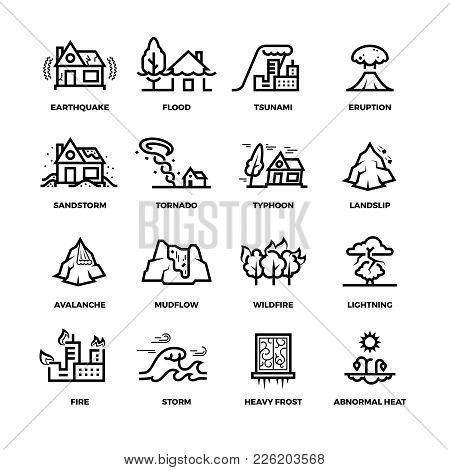 Natural Disaster Accidents Line Vector Icons And Damage Symbols. Hurricane And Storm, Fire And Tsuna