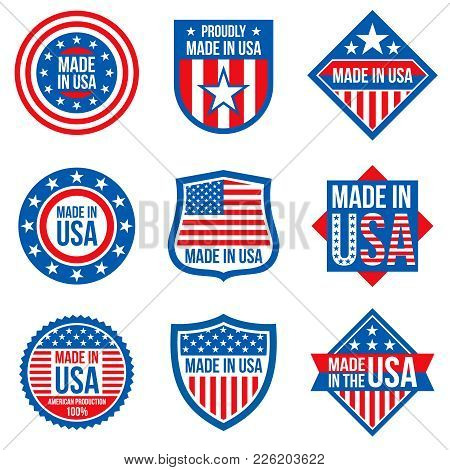Made In The Usa Vector Labels. American Manufacturing Stickers. Usa Sticker Label, American Emblem B
