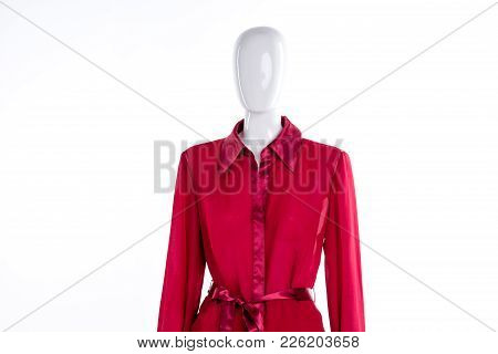 Red Blouse With Silk Collar. Female Mannequin Dressed In Red Elegant Shirt, White Background.
