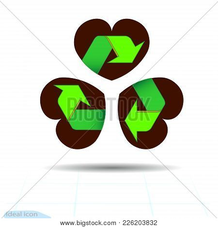 Recycled Materials Green Symbol Located On Abstract Three Leaf Clover In Shape Of Heart, Attribute S