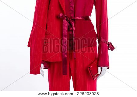 Fashionable Blouse, Blazer And Trousers Close Up. Female Elegant Clothing And Accessories, Cropped I